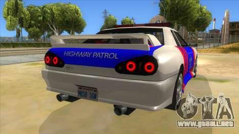 Elegy NR32 Police Edition White Highway para la visión correcta GTA San Andreas