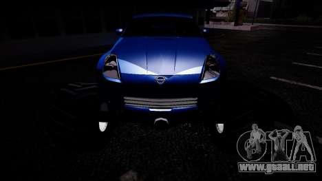 Nissan 350Z Monster Truck para GTA San Andreas vista hacia atrás