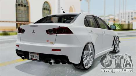 Mitsubishi Lancer Evolution X GSR Full Tunable para GTA San Andreas left
