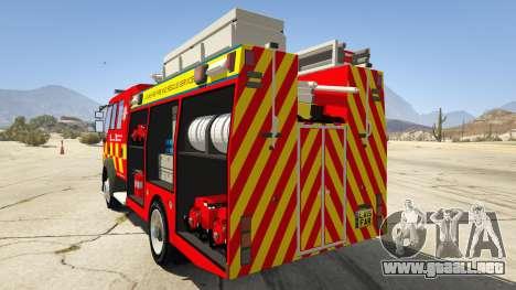 GTA 5 DAF Lancashire Fire & Rescue Fire Appliance vista lateral izquierda trasera