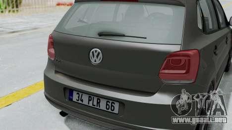 Volkswagen Polo 6R 1.4 HQLM para GTA San Andreas vista hacia atrás