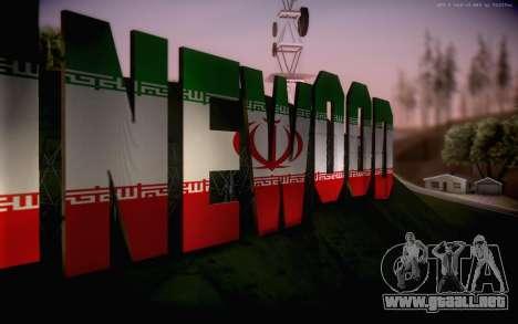 New Vinewood colors Iran flag para GTA San Andreas tercera pantalla