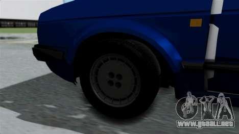 Volkswagen Golf Mk2 Milicija para GTA San Andreas vista posterior izquierda