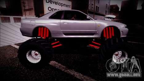 Nissan Skyline R34 Monster Truck para vista inferior GTA San Andreas