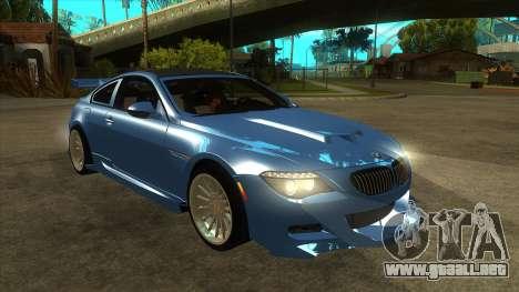 BMW M6 Full Tuning para GTA San Andreas vista hacia atrás