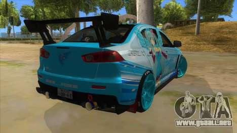 Mitsubishi Lancer Evolution X Koi-chan Itasha para la visión correcta GTA San Andreas