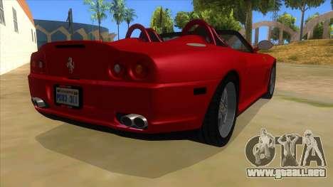 Ferrari 550 Barchetta Pinifarina US Specs 2001 para la visión correcta GTA San Andreas