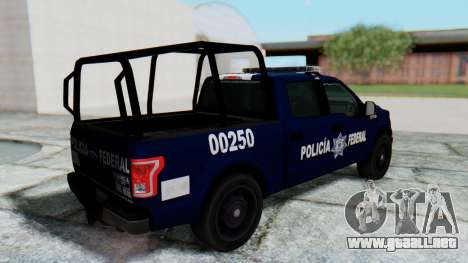 Ford F-150 2015 Policia Federal para GTA San Andreas vista posterior izquierda
