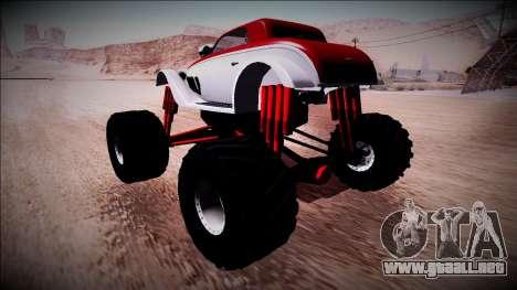 GTA 5 Hotknife Monster Truck para GTA San Andreas vista posterior izquierda