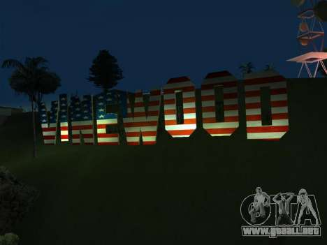 New Vinewood colors USA flag para GTA San Andreas segunda pantalla