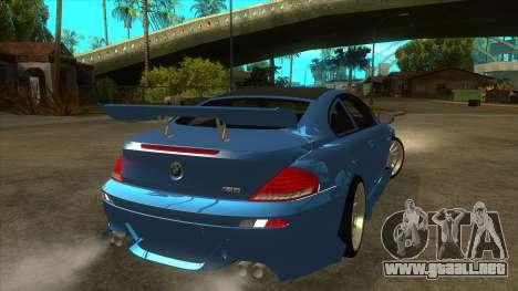 BMW M6 Full Tuning para la visión correcta GTA San Andreas
