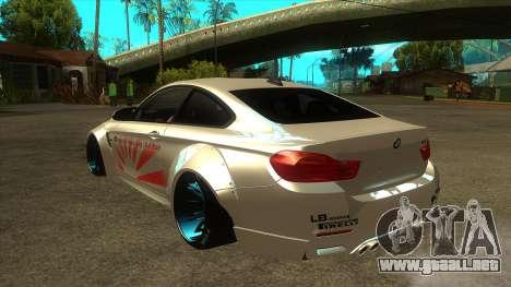BMW M4 Liberty Walk Performance para GTA San Andreas vista posterior izquierda