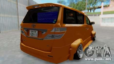 Toyota Vellfire S Class para GTA San Andreas left