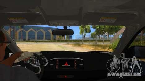 Mitsubishi Lancer Evolution X Koi-chan Itasha para visión interna GTA San Andreas