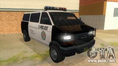 GTA 5 Burrito Transport para GTA San Andreas vista hacia atrás