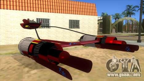 StarWars Anakin Podracer para GTA San Andreas vista hacia atrás