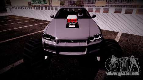Nissan Skyline R34 Monster Truck para el motor de GTA San Andreas