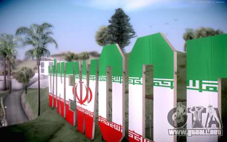 New Vinewood colors Iran flag para GTA San Andreas segunda pantalla