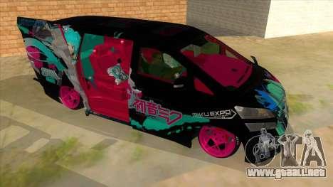 Toyota Vellfire Miku Pocky Exhaust v2 FIX para GTA San Andreas vista hacia atrás