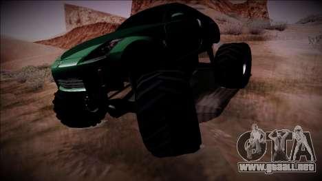 Nissan 350Z Monster Truck para GTA San Andreas vista posterior izquierda