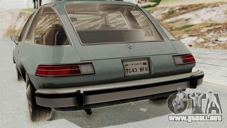 AMC Pacer 1978 IVF para GTA San Andreas vista hacia atrás