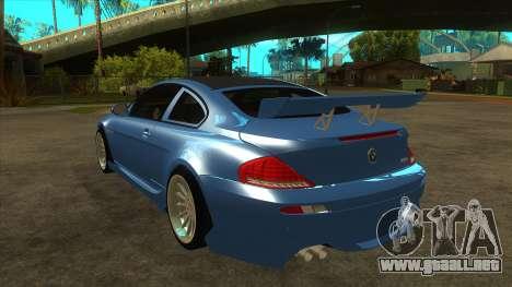 BMW M6 Full Tuning para GTA San Andreas vista posterior izquierda