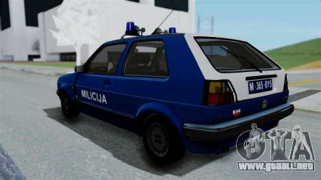 Volkswagen Golf Mk2 Milicija para GTA San Andreas left