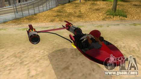 StarWars Anakin Podracer para GTA San Andreas vista posterior izquierda