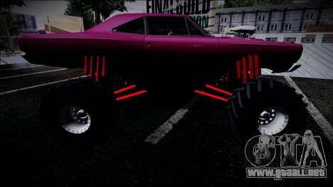 1969 Plymouth Road Runner Monster Truck para GTA San Andreas vista posterior izquierda