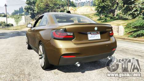 GTA 5 BMW M235i Coupe vista lateral izquierda trasera