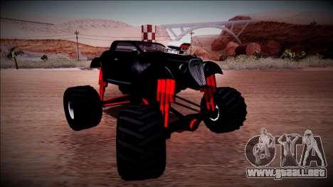 GTA 5 Hotknife Monster Truck para GTA San Andreas vista hacia atrás