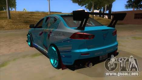 Mitsubishi Lancer Evolution X Koi-chan Itasha para GTA San Andreas vista posterior izquierda