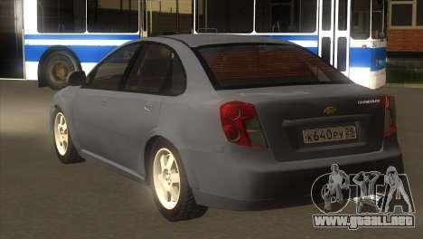 Chevrolet Lacetti Sedan para GTA San Andreas vista posterior izquierda