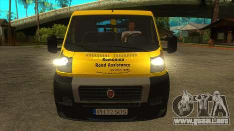 Fiat Ducato Road Asisstance para visión interna GTA San Andreas