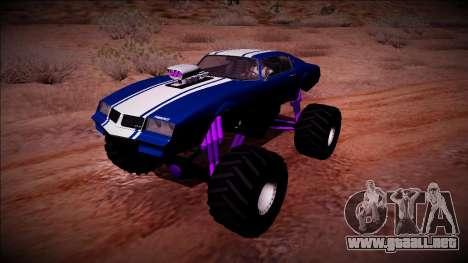 GTA 5 Imponte Phoenix Monster Truck para GTA San Andreas vista hacia atrás