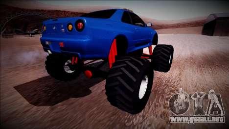 Nissan Skyline R34 Monster Truck para la visión correcta GTA San Andreas