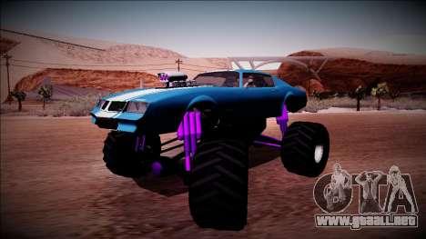 GTA 5 Imponte Phoenix Monster Truck para GTA San Andreas vista posterior izquierda