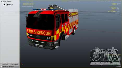 GTA 5 DAF Lancashire Fire & Rescue Fire Appliance vista lateral derecha