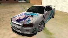 Nissan Skyline GT-R R34 Hatsune Miku para GTA San Andreas