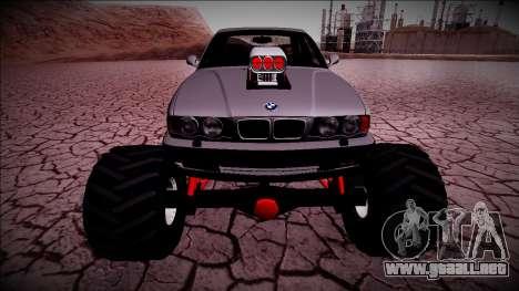 BMW M5 E34 Monster Truck para GTA San Andreas vista hacia atrás