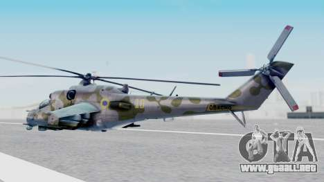 Mi-24V Ukraine Air Force 010 para GTA San Andreas left