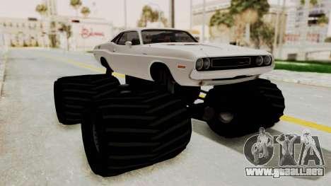 Dodge Challenger 1970 Monster Truck para GTA San Andreas vista posterior izquierda