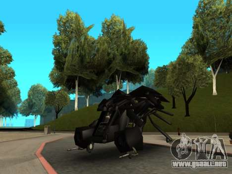 The Dark Knight Rises BAT v1 para GTA San Andreas vista hacia atrás