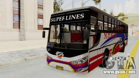 Superlines Ordinary Bus para GTA San Andreas vista posterior izquierda