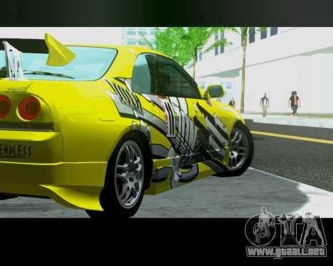 Nissan R33 GT-R Tunable para GTA San Andreas vista posterior izquierda
