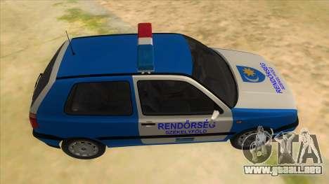 Volkswagen Golf 3 Police para visión interna GTA San Andreas