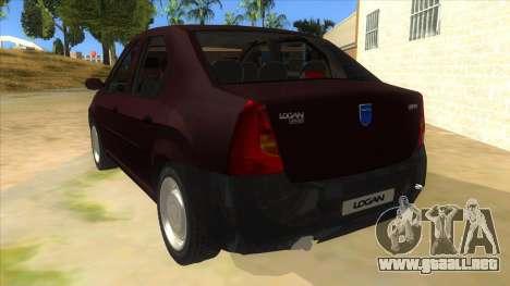 Dacia Logan V2 Final para GTA San Andreas vista posterior izquierda