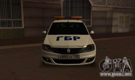 Renault Logan Security Service para GTA San Andreas vista posterior izquierda