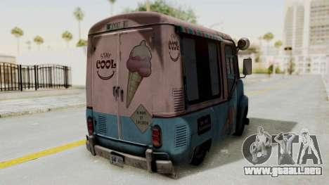 Hitman Absolution - Ice Cream Van para GTA San Andreas vista hacia atrás