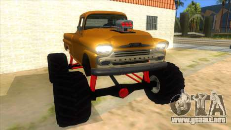 1958 Chevrolet Apache Monster Truck para GTA San Andreas vista hacia atrás